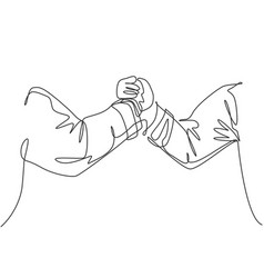 single line drawing businessmen handshaking vector image