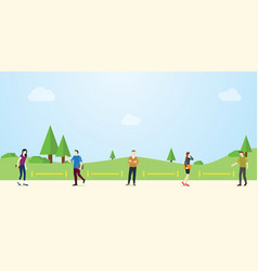 Social distance or physical distancing concept vector