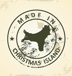 Stamp with map of Christmas Island vector