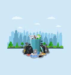 Steel garbage bin full of trash vector