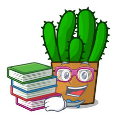 Student with book the beautiful spurge cactus vector