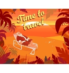Sunset on a tropical beach summer santa claus vector