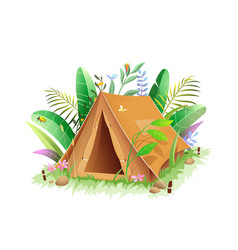 tent icon in jungle or forest in green leaves vector image