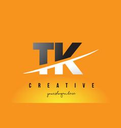 Tk t k letter modern logo design with yellow vector