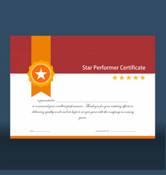 Vintage red and gold star performer certificate vector