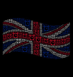 Waving british flag collage of buzzer icons vector