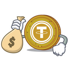 With money bag tether coin character cartoon vector