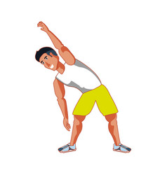 Young athletic man doing stretching vector