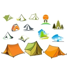 Camping symbols with tents and nature vector image