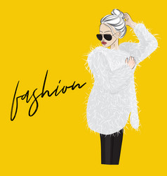 glamour woman in fur coat with sunglasses vector image vector image