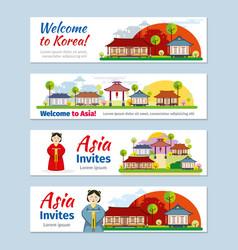 Korea japan thailand travel banners vector image vector image