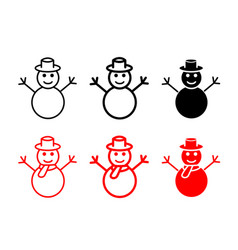set of snowman icons and symbol vector image