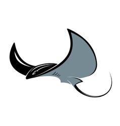 Swimming manta ray vector