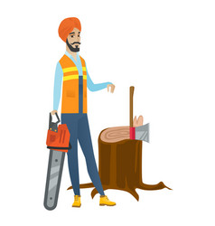 young hindu lumberjack with chainsaw vector image vector image