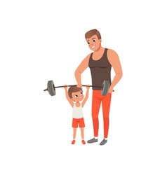 young sporty father helping his little son vector image vector image