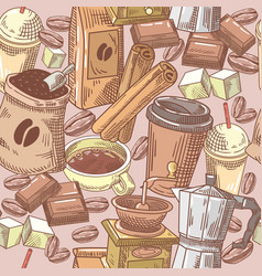 coffee hand drawn seamless background with beans vector image vector image