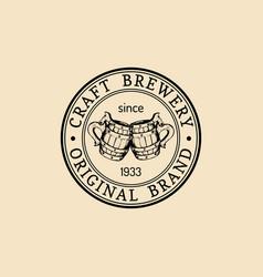 kraft beer mugs logo lager cups retro sign hand vector image