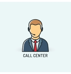 Operator in headset Call center icon vector image vector image