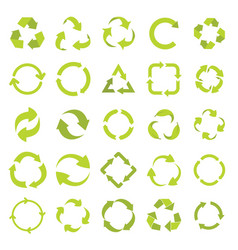 recycle eco signs set in green flat style vector image