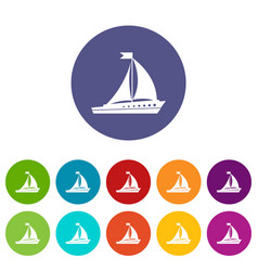 sailing ship set icons vector image vector image