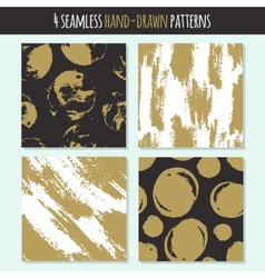 Set of 4 hand drawn seamless trendy patterns with vector image