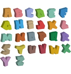 3D graffiti color fonts alphabet over white vector image vector image