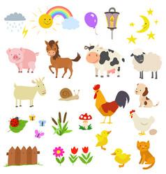 cartoon set of farm animals isolated on white vector image