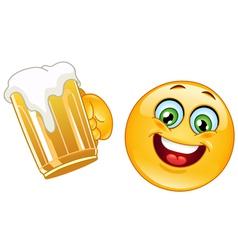 emoticon with beer vector image vector image