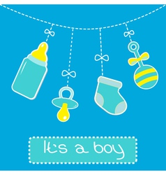 Hanging bottle pacifier rattle and sock Baby boy vector image