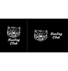 Logo symbol sign stencil bear headUnique technique vector image