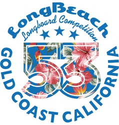 Long Beach Surfing vector image vector image