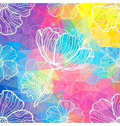 Rainbow triangles with white doodle flowers vector