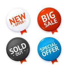 Realistic 3d sale discount color circle button vector