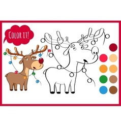 Coloring book page with cartoon christmas deer and vector image