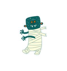 flat halloween walking zombie vector image vector image