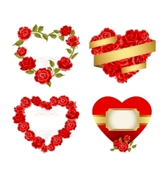 Frames with red roses vector image vector image