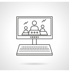 Online lecture flat line icon vector