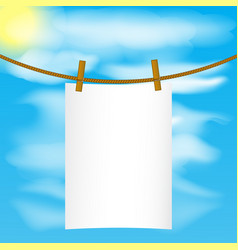 paper mock up hanging on the rope with wood pins vector image vector image
