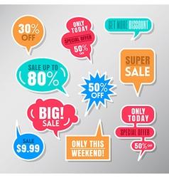 Set of colorful sale labels balloon speech bubbles vector image vector image