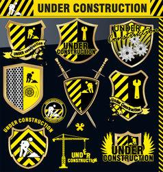 under construction shield - set vector image