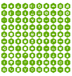 100 natural products icons hexagon green vector image