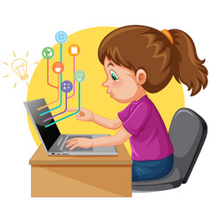 A girl using laptop computer for distance vector
