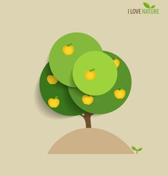 Abstract tree with apples vector image vector image