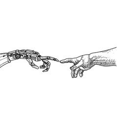 Ai robot and man hands michelangelo drawing vector
