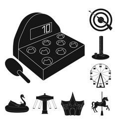 Amusement park black icons in set collection for vector