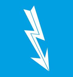 Arrow lightning icon white vector