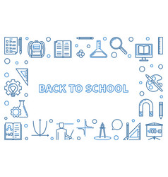 back to school outline horizontal vector image