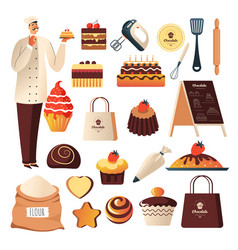 Bakery shop baker and confectionery or pastry vector