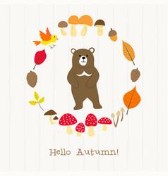 Bear with autumn frame card vector