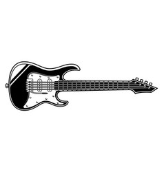 black and white of electric guitar vector image